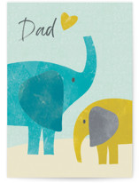 This is a blue fathers day card by Farinaz Vaseghi called Elephants with standard printing on signature in greeting cards.