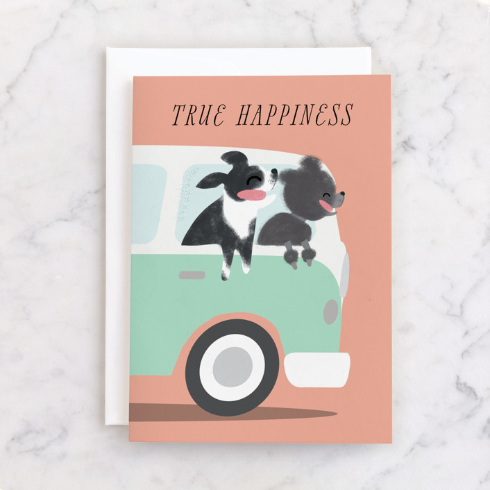 """True Happiness"" - Individual Masculine Birthday Greeting Cards in Peach by Itsy Belle Studio."