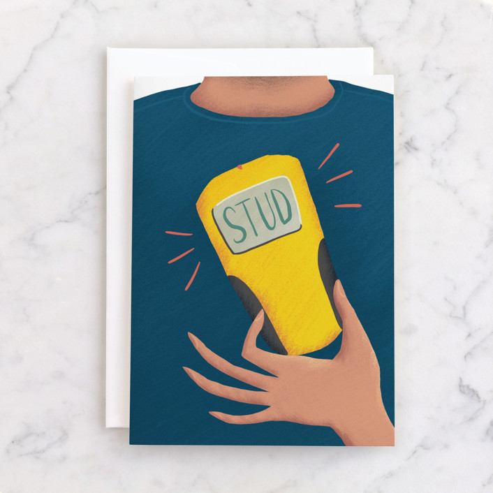 """Stud Finder"" - Individual Masculine Birthday Greeting Cards in Navy by Holly Whitcomb."