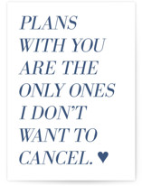 This is a blue birthday cards for him by Laura Condouris called Uncancelled Plans with standard printing on signature in greeting cards.
