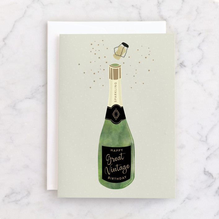 """Vintage Bubbly"" - Individual Masculine Birthday Greeting Cards in Sage by Jan Shepherd."