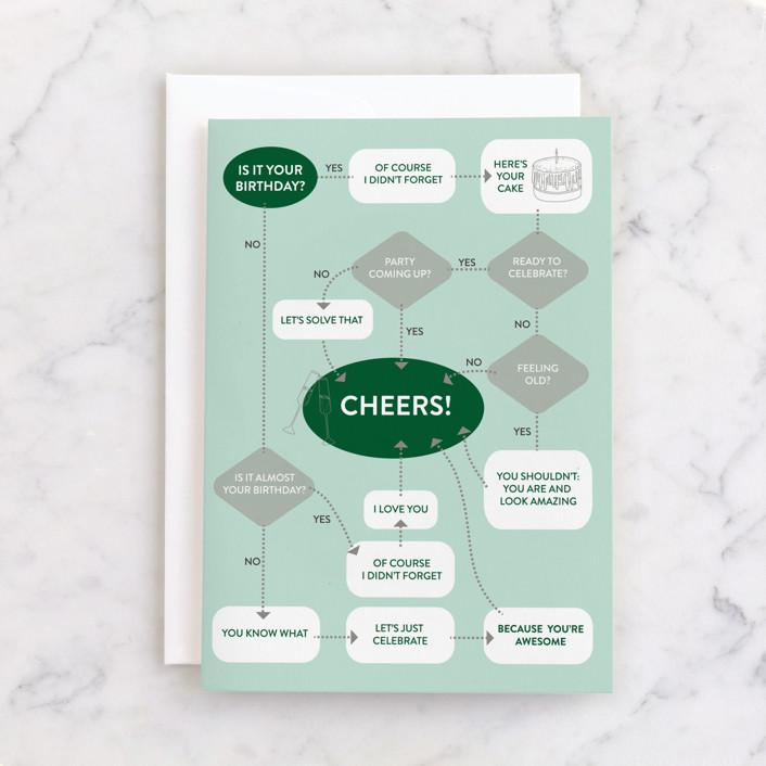 """Birthday Flow Chart"" - Individual Masculine Birthday Greeting Cards in Mint by Rosana Laiz Blursbyai."