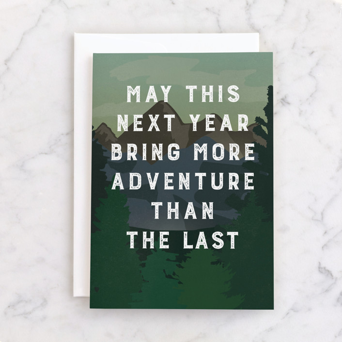 """""""More Adventure"""" - Individual Masculine Birthday Greeting Cards in Evergreen by Amy Payne."""