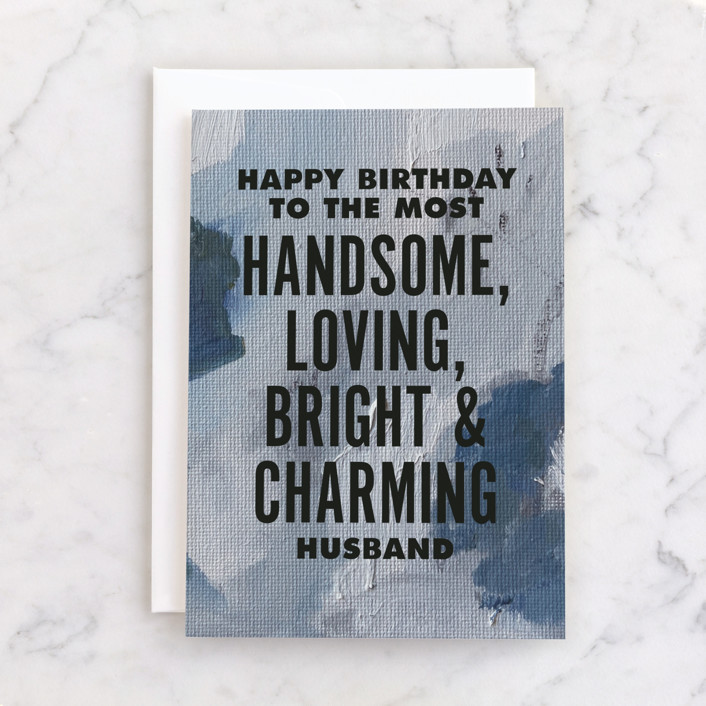 """""""Prince Charming"""" - Individual Masculine Birthday Greeting Cards in Navy by Nicoletta Savod."""