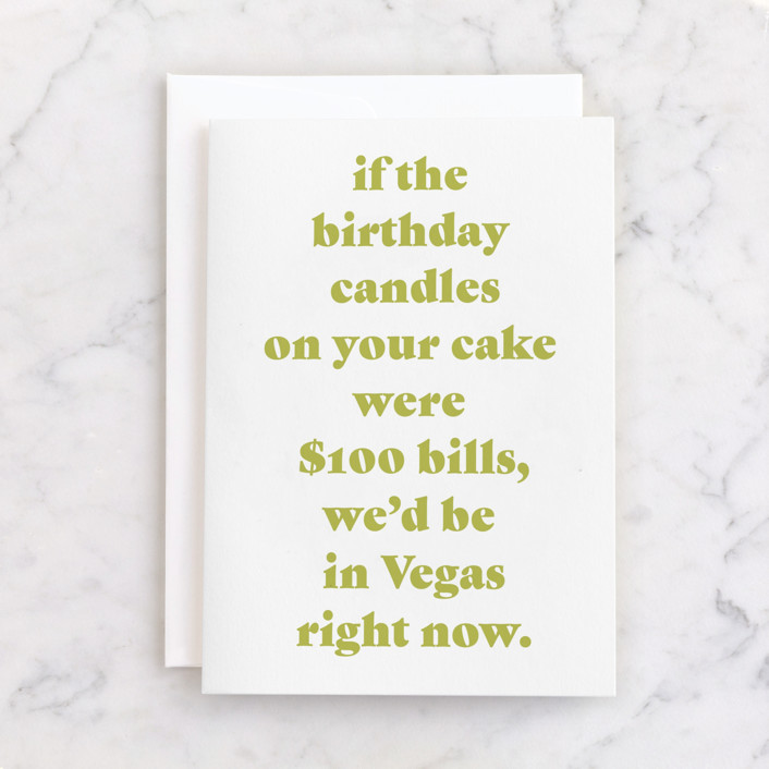 """""""Vegas"""" - Individual Masculine Birthday Greeting Cards in Mustard by Lissabeth Anglin."""