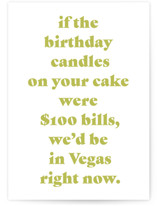 This is a yellow birthday cards for him by Lissabeth Anglin called Vegas with standard printing on signature in greeting cards.