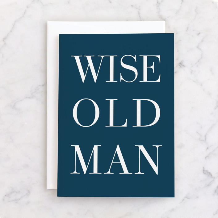 """""""Wise Old Man"""" - Individual Masculine Birthday Greeting Cards in Navy by Alicia Schultz."""
