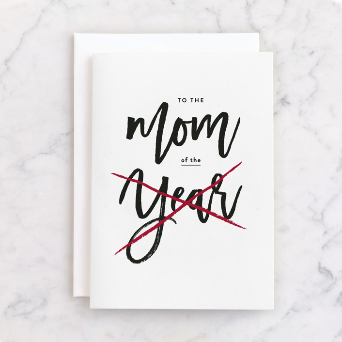 """Mom of the Year"" - Individual Feminine Birthday Greeting Cards in Snow by JoAnn Jinks."
