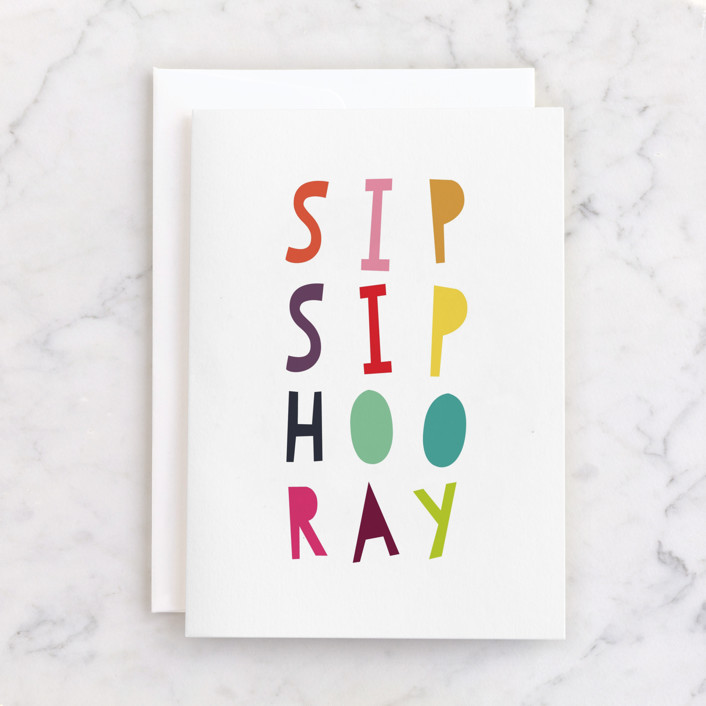 """""""Colorful Sip Sip Hooray"""" - Individual Feminine Birthday Greeting Cards in Rainbow by Up Up Creative."""