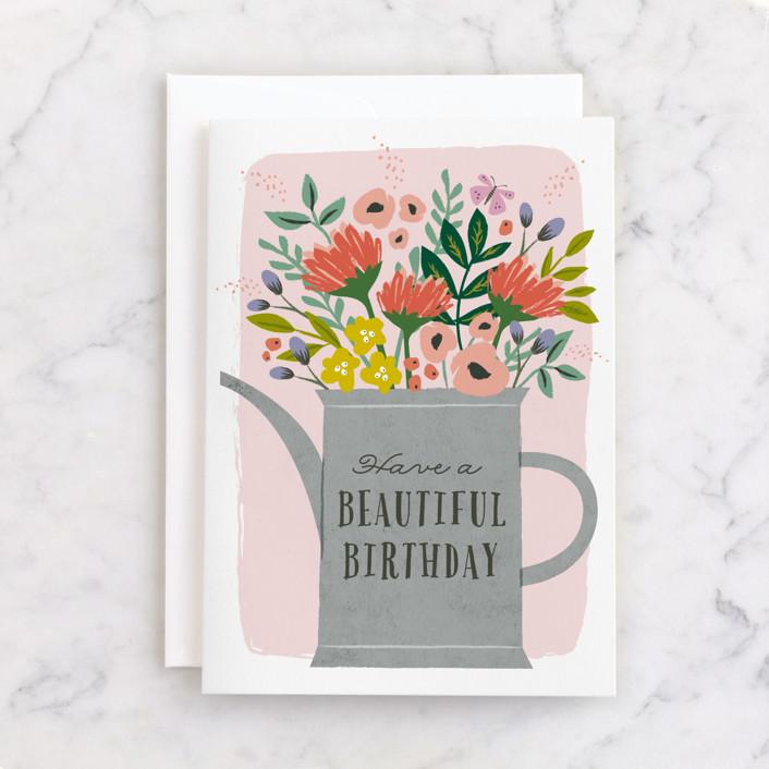 """flowering water can"" - Individual Feminine Birthday Greeting Cards in Blush by Karidy Walker."