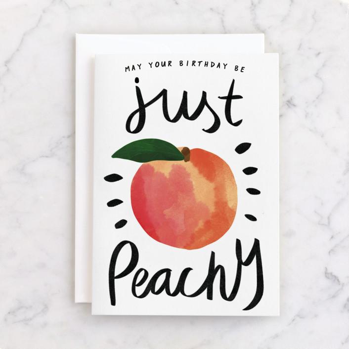 """Just Peachy"" - Individual Feminine Birthday Greeting Cards in Peach by Catherine Culvenor."