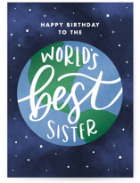 This is a blue birthday cards for her by Jen Banks of Ink and Letter called World's Best Sister with standard printing on signature in greeting cards.
