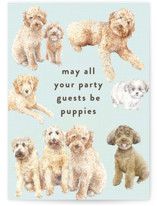 This is a blue birthday cards for her by Jaclyn Rae called Puppy Party with standard printing on signature in greeting cards.