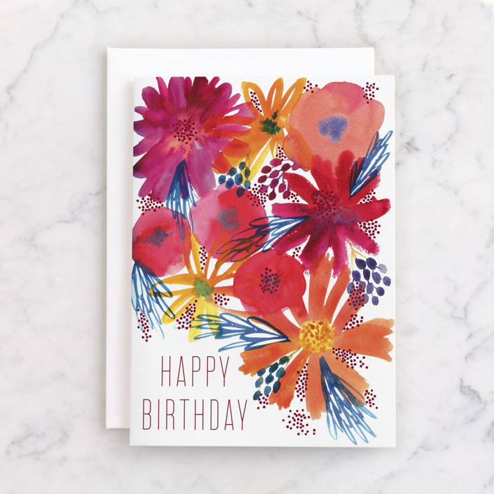 """""""Birthday Flowers"""" - Individual Feminine Birthday Greeting Cards in Sunset by Alexandra Dzh."""