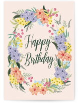 This is a pink birthday cards for her by Christy Hy Lee called Spring Flowers with standard printing on signature in greeting cards.