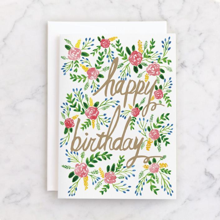 """Floral Birthday Card"" - Individual Feminine Birthday Greeting Cards in Sage by Yaling Hou Suzuki."