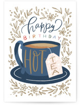 This is a white birthday cards for her by Alethea and Ruth called Happy Hot-Tea with standard printing on signature in greeting cards.
