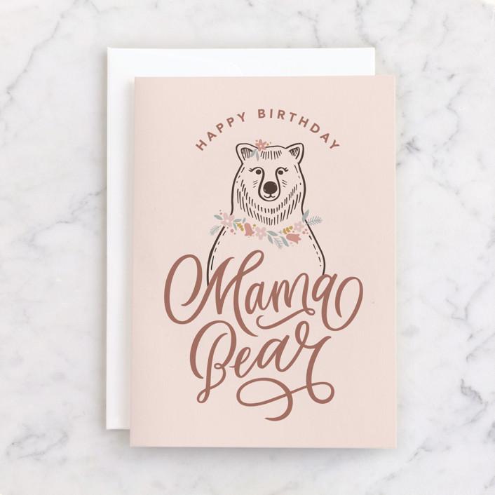 """Mama Bear"" - Individual Feminine Birthday Greeting Cards in Blush by Kristen Smith."
