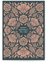 This is a green birthday cards for her by Katharine Watson called gilded floral with standard printing on signature in greeting cards.