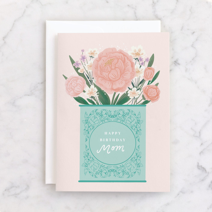 """A Beautiful Day"" - Individual Feminine Birthday Greeting Cards in Aqua by Itsy Belle Studio."