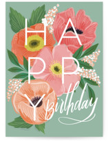 This is a green birthday cards for her by Rebecca Durflinger called birthday poppies with standard printing on signature in greeting cards.