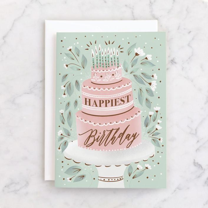 """Fancy Cake"" - Individual Feminine Birthday Greeting Cards in Mint by Ana Sharpe."