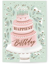This is a blue birthday cards for her by Ana Sharpe called Fancy Cake with standard printing on signature in greeting cards.