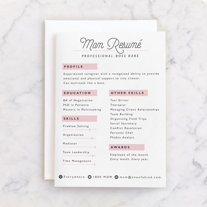 """Mom Resume"" - Individual Feminine Birthday Greeting Cards in Carnation by Caitlin Considine."