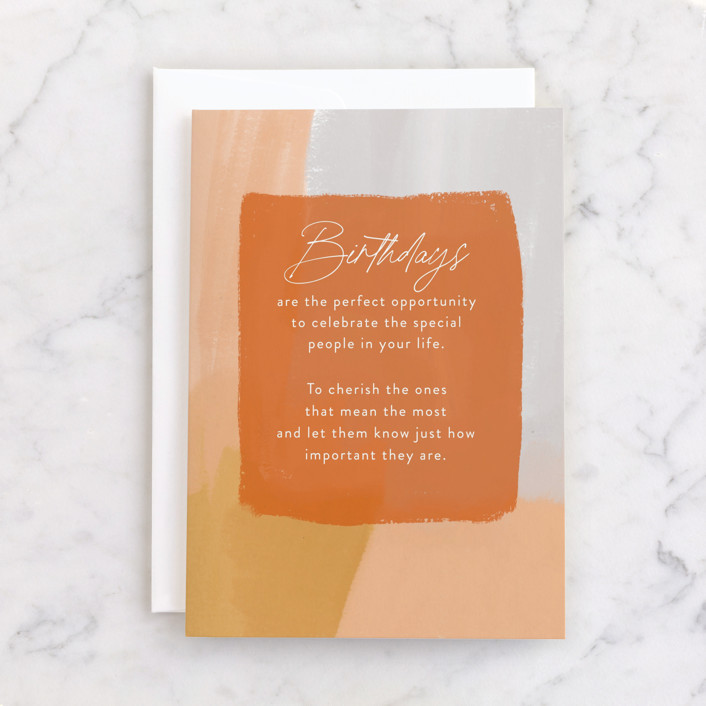 """""""Birthday Opportunity"""" - Individual Feminine Birthday Greeting Cards in Tangerine by Ashlee Townsend."""