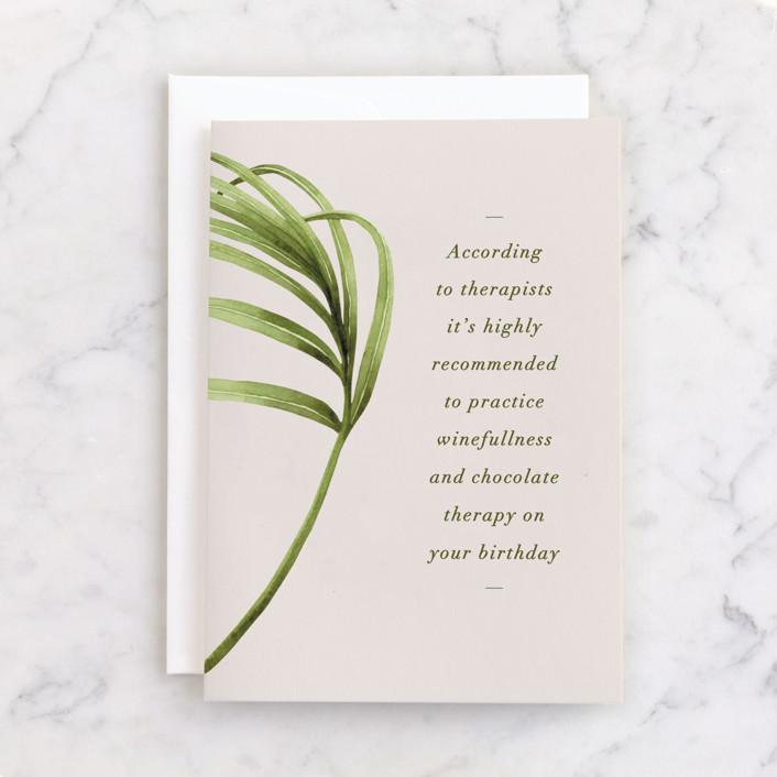 """Winefullness"" - Individual Feminine Birthday Greeting Cards in Leaf by Nam Bourassa."