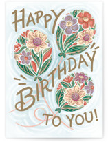 This is a blue birthday cards for her by Paper Sun Studio called Floral Balloons with standard printing on signature in greeting cards.