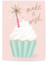 This is a pink birthday cards for her by Everett Paper Goods called Cupcake Wishes with standard printing on signature in greeting cards.