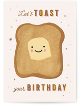 This is a brown birthday cards for her by Laura Bercovich called A Birthday Toast with standard printing on signature in greeting cards.