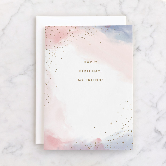 """""""My Friend"""" - Individual Feminine Birthday Greeting Cards in Cotton Candy by Pixel and Hank."""