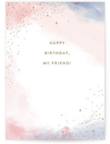 This is a pink birthday cards for her by Pixel and Hank called My Friend with standard printing on signature in greeting cards.