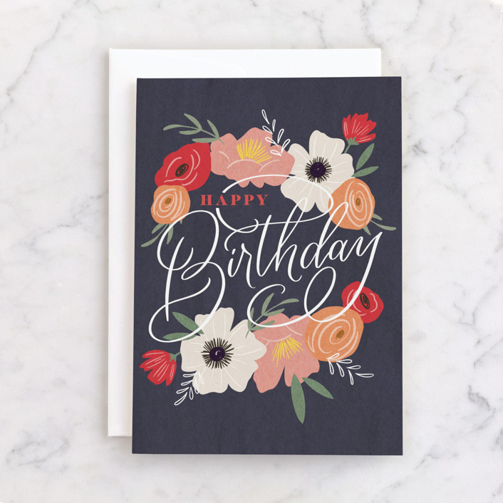 """Beautiful Day"" - Individual Feminine Birthday Greeting Cards in Navy by Erin German."