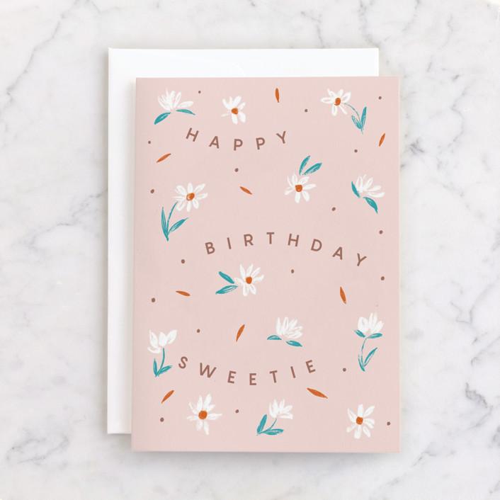 """Sweetie"" - Individual Feminine Birthday Greeting Cards in Rose by Yaling Hou Suzuki."