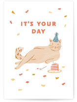 This is a orange birthday cards for her by Jennifer A. Smith called Birthday Suit with standard printing on signature in greeting cards.