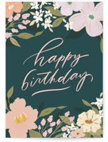 This is a green birthday cards for her by Julie Murray called Birthday Bouquets with standard printing on signature in greeting cards.