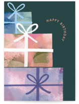 This is a blue birthday cards for her by Bethan called Stacked Gifts with standard printing on signature in greeting cards.