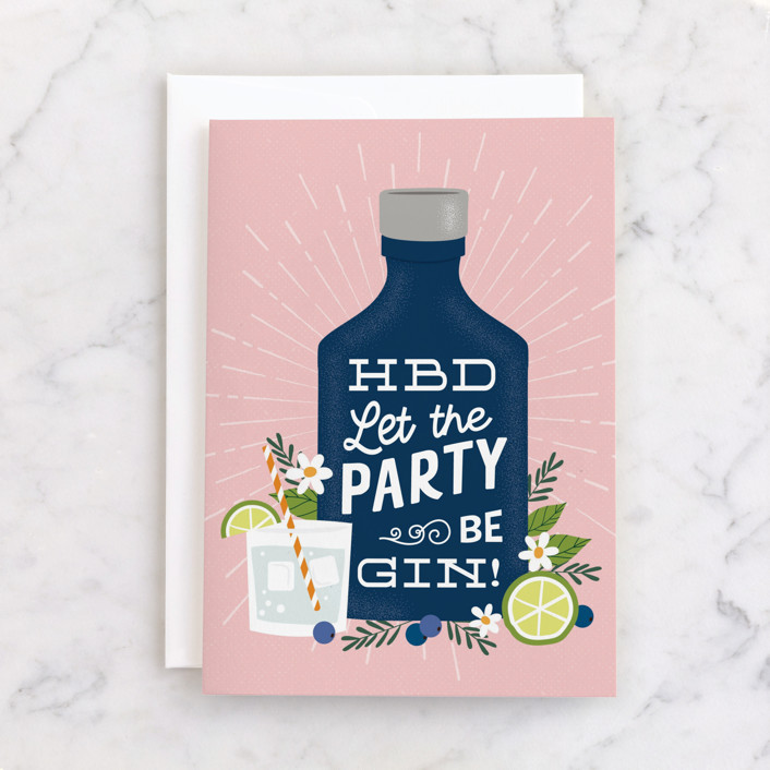 """""""Birthday Gin"""" - Individual Feminine Birthday Greeting Cards in Rose by Nam Bourassa."""