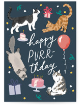 This is a blue birthday cards for her by Everett Paper Goods called Happy Purr-thday with standard printing on signature in greeting cards.
