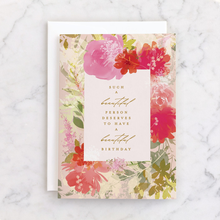 """""""Beautiful You"""" - Individual Feminine Birthday Greeting Cards in Rose by Itsy Belle Studio."""