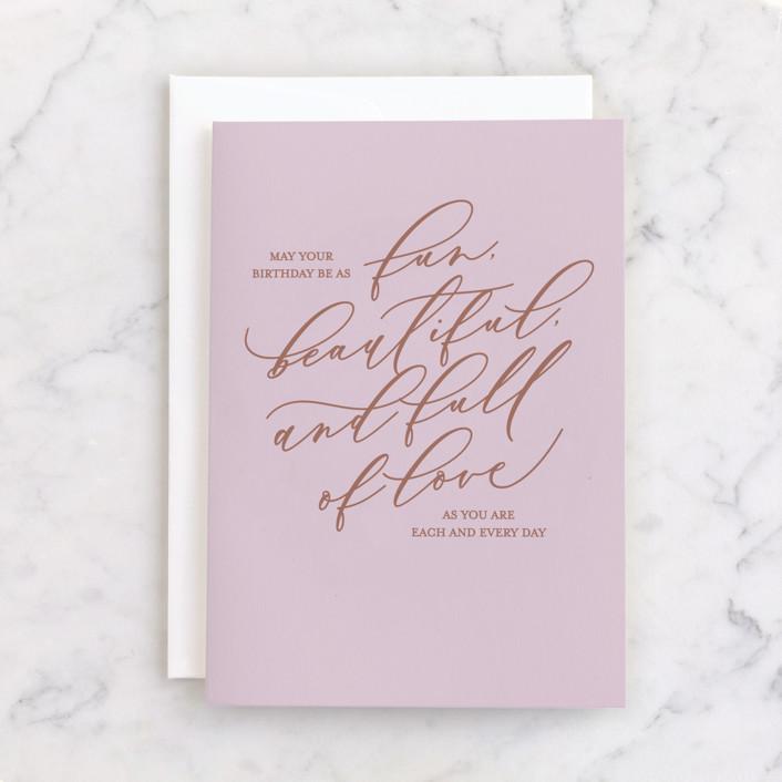 """""""Birthday Like You"""" - Individual Feminine Birthday Greeting Cards in Blush by Carolyn Kach."""