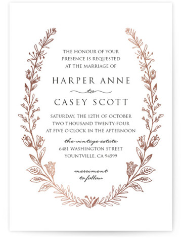 This is a portrait floral, traditional, rosegold Wedding Invitations by Smudge Design called Gilded Laurels with Foil Pressed printing on Signature in Petite Flat Card format. Sketched wildflowers adorn this elegant design which is perfect for a garden or vineyard ...