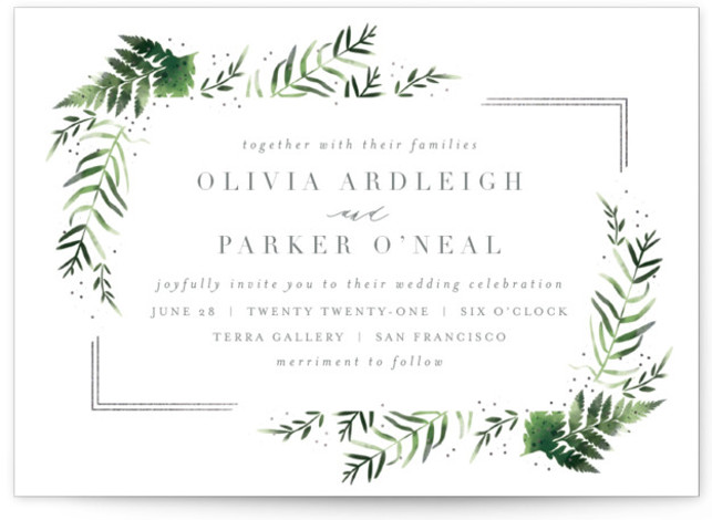 This is a landscape botanical, painterly, grey, silver Wedding Invitations by Kristie Kern called Framed in Ferns with Foil Pressed printing on Signature in Petite Flat Card format. Fresh watercolor ferns and rose gold foil
