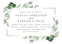 Framed in Ferns Foil-Pressed Wedding Invitation Petite Cards