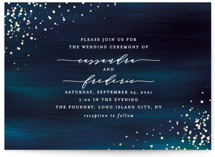 This is a blue petite wedding invitation by Ana Sharpe called Cosmic with foil-pressed printing on signature in petite.