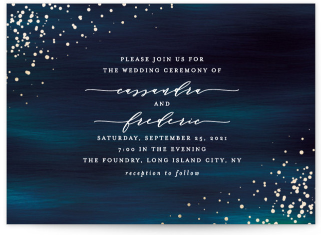 This is a landscape modern, painterly, blue Wedding Invitations by Ana Sharpe called Cosmic with Foil Pressed printing on Signature in Petite Flat Card format. Another romantic wedding invitation featuring original illustration background inspired by the universe.