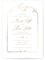 This is a white petite wedding invitation by Leah Bisch called Reflection with foil-pressed printing on signature in petite.